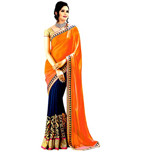 Winza Faux Georgette Saree (Exclusive Best Top New Latest Ethnic Desi Bolly Wedding Fancy Sarees For Women_Orange And Navy Blue)