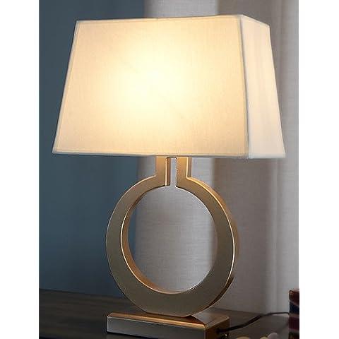 La moda de lujo americana ZSQ Crear Anillo Dorado Lámpara de mesa lámpara de hierro forjado la restauración de antiguas formas de dormitorio Lámpara Dest , 220-240 v #587