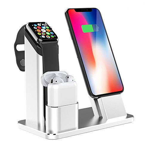 tion, Aluminium Ladestation Dock Station,Kompatibel.mit Apple Watch Series 4/3/2/1, Airpods und alle iPhone XS/XR 8/7/7 Plus / 6s / 6s Plus / 6/6 Plus/Verschiedene Fälle(Silber) ()