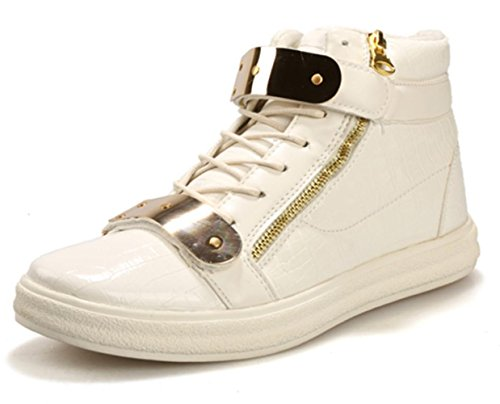 CSDM Men's Casual Fashion High Help Chaussures en métal Plaques Chaussures de course Basketball Sports Chaussures de course White