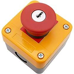 BeMatik - Boîte de commande avec bouton poussoir et arrêt d'urgence avec clé NC