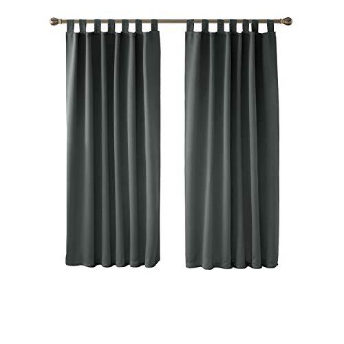 Deconovo Vorhang Blickdicht Schlaufen Verdunkelungsgardinen Gardinen Schlafzimmer 175x140 cm Hellgrau 2er Set
