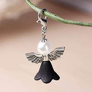 Charm Engel Anhänger Schützengel mit Flügel Mit Karabiner Verschluss & Acryl imitierte Perle & Blumen Perlen 38mm x 22mm