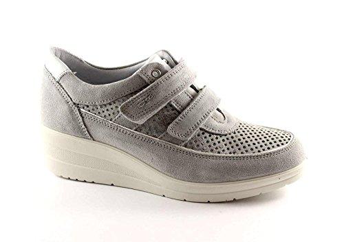 NERO GIARDINI 17952 beige scarpe donna sportive zeppetta sneakers strappi strass Beige