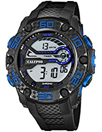 Calypso-Orologio digitale Unisex, con Display LCD digitale e cinturino in plastica, colore: nero, 3 K5691
