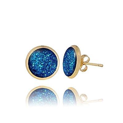 Gracieuses Clous d'Oreilles Poussière d'Étoiles plaque Or de couleur Bleu Roi; Cadeau Humour Fête pour Femme Dragon Porter; Diamètre 1cm