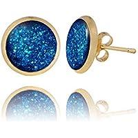 Les Clous d'Oreilles Glamour Plaqués Or de Couleur Bleu Royal Brillant