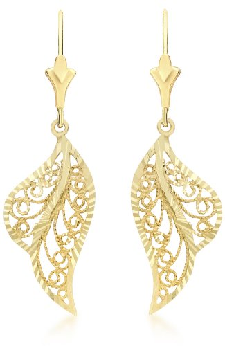 Carissima Gold 9 ct Yellow Gold Leaf Drop Earrings