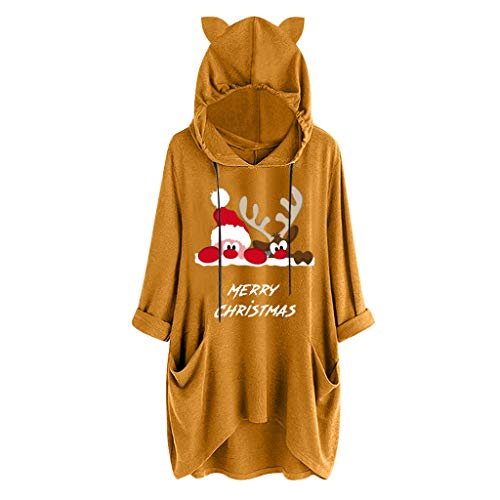 Kolila Weihnachten Katzenohren Hoodie Damen Xmas Print Kängurutasche Kapuze Lässige Langarmshirts Tops Sweatshirt Pullover