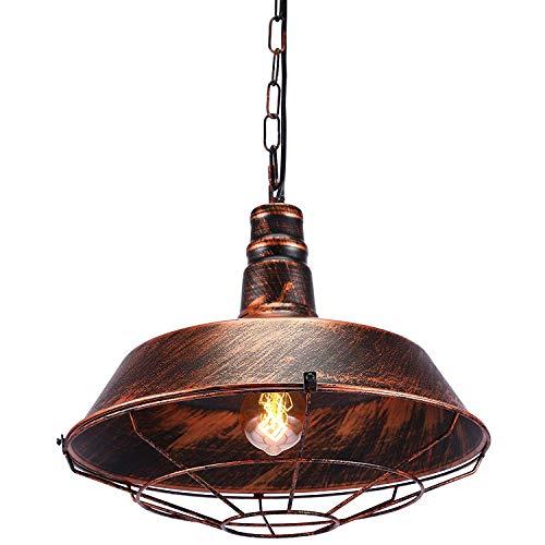 Glighone Pendelleuchte Vintage Hängelampe Industrial Hängeleuchte Rost Retro Industrielampe Esstischlampe E27 Beleuchtung Lampe für Wohnzimmer Schlafzimmer Esszimmer Esstisch usw.