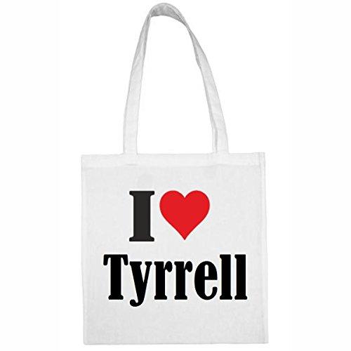 Tasche I Love Tyrrell Größe 38x42 Farbe Weiss Druck Schwarz