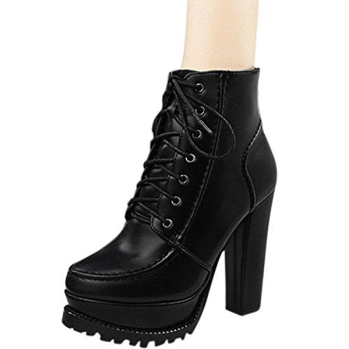 Oasap Femme Mode Boots A Cheville A Lacet Plate-forme Talons Bloc Talons Hauts
