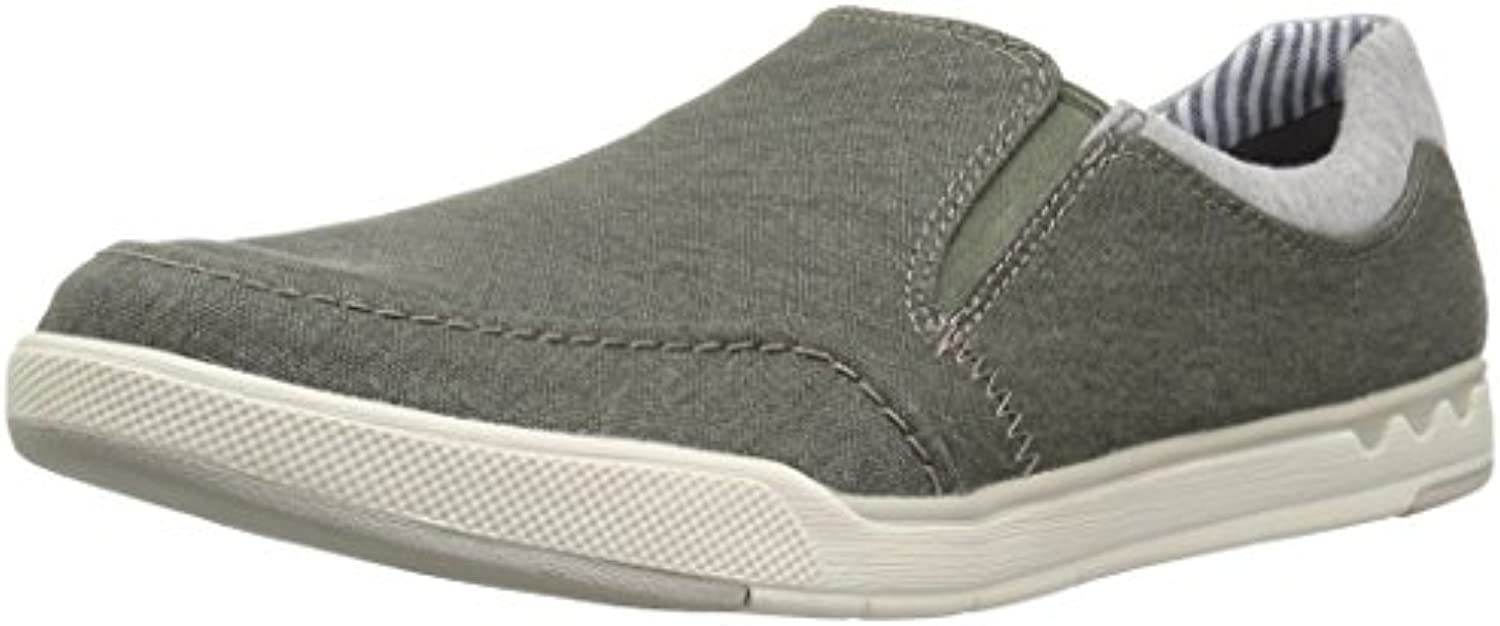 CLARKS Men's Step Isle Slip Loafer  Khaki Canvas  8 Medium US