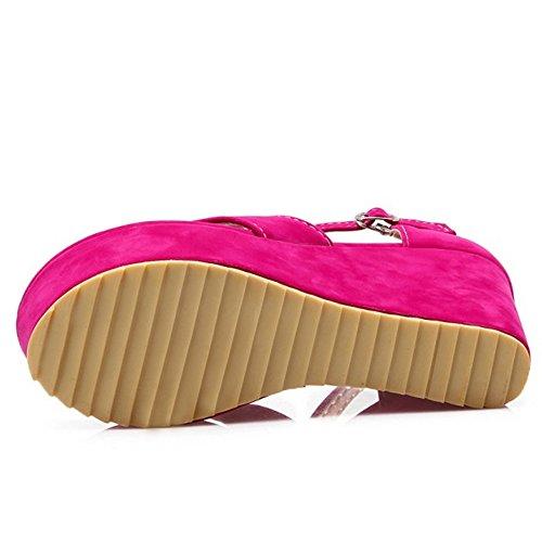 COOLCEPT Femmes Classique Plate-forme Compenses Sandales Tongs Rose Rouge