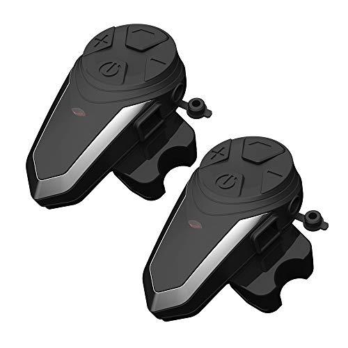 Fodsports BT-S3 Interfono Bluetooth Casco, Auricolare Moto Casco per 2 o 3 motociclisti walkie talkie GPS mani libere MP3 player radio FM Interphone (confezione da 2/cuffia rigida)