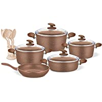 Bamco Granit Cookware Set with Glass Cover, 15 Pcs, Brown