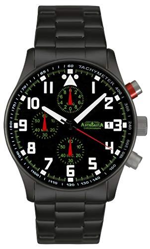 Astroavia Herren-Armbanduhr Chronograph Quarz mit Edelstahl Armband N93BS