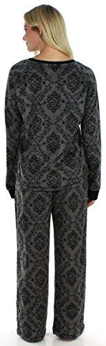 Frankie & Johnny langärmliger Fleece-Pyjama für Damen, Schlafanzug, Nachtwäsche Grauer Damast