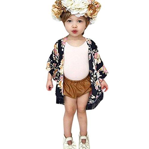 Hirolan Neugeboren Baby Mädchen Blume Quaste Kimono Schal Strickjacke Tops Outfits Kleider (Schwarz, (Boy Zombie Prop)