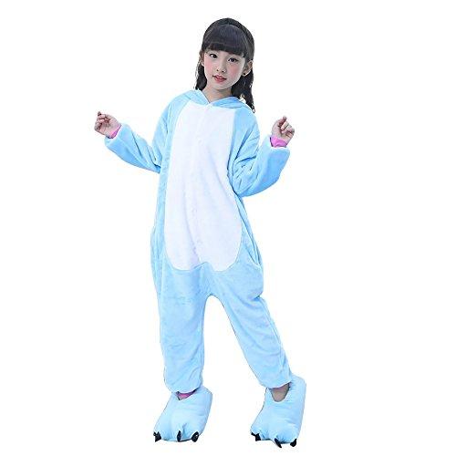 Pigiama unicorno kigurumi adulto animale cosplay animato costume camicie da notte carnevale halloween costume tuta animali onesies (115(altezza 125-134cm), blue)