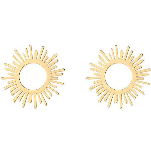 ZRDMN Tropfen Ohrringe Dangler Eardrop Schmuck für Frauen 925 Silber Nadel Kreative Hohl Sonne Ohrringe Göttin Ohrringe - Gold Ball Ohrringe Drop