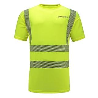 AYKRM Breathable Hi Vis Short Sleeve Safety Work Crew Neck T Shirt EN20471 (XL)
