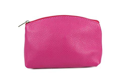 BELLI 'Bellini' kleine Leder Kosmetiktasche Make Up Tasche - Farbauswahl - 18x13x5 cm (B x H x T) (Pink glatt)
