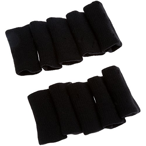 dophee-10pcs-basketball-stretchy-finger-sleeve-wrap-support-protector-type-comfortable-black