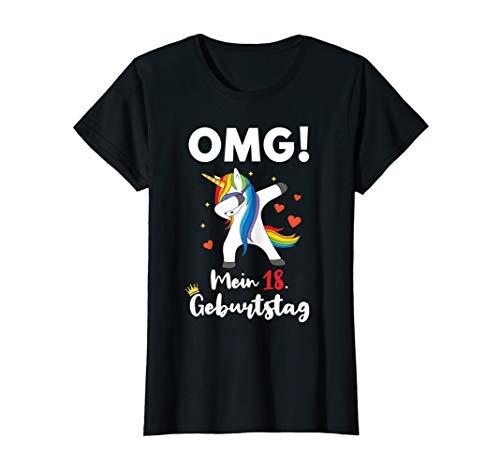 Damen 18. Geburtstag Einhorn Geschenk Shirt für Teenager Mädchen (Geburtstag Shirt 18)