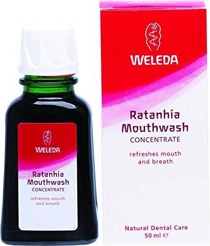 WELEDA Ratanhia Mundwasser, Naturkosmetik Mundspülung ohne Fluorid mit ätherischen Ölen für frischen Atem und gesunde Mundschleimhaut, natürliche Munddusche zur Pflege des Zahnfleisches (1 x 50 ml) -