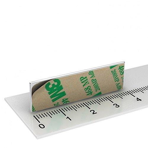 10 x Neodym Quadermagnet, 40 x 12 x 1 mm, selbstklebend, Grade N42, vernickelt, Klebefolie 3M