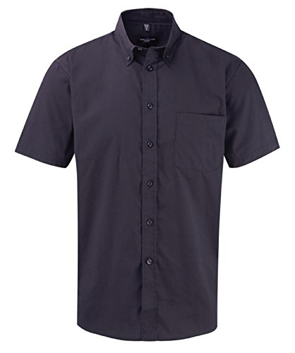 Russell Collection Men's Classic Twill Short Sleeve Shirt Bleu Marine