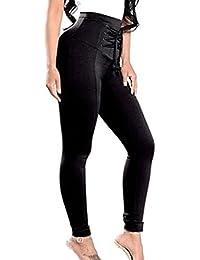 Pantalones Mujeres Leotardos Cintura Alta Pantalones Lápiz Sólido Jeggings Vendaje Pantalones Casuales Pantalones Largos Juleya