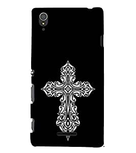 FUSON Gothic Cross Sign 3D Hard Polycarbonate Designer Back Case Cover for Sony Xperia T3