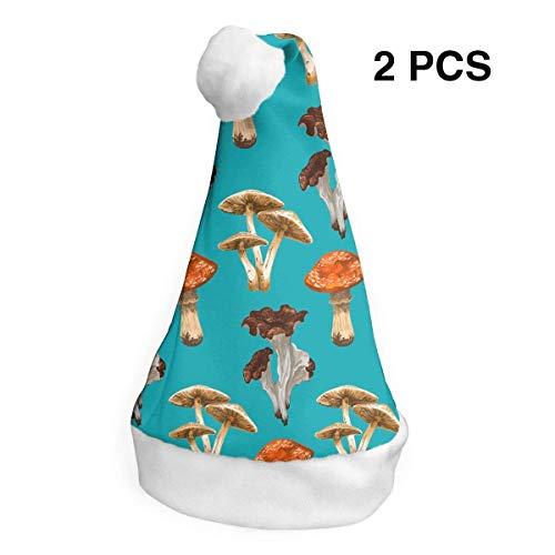 Weihnachtsmannmütze, Mushroom Merry Christmas, für Erwachsene und Kinder, Kostüm, Weihnachtsdekoration, Party-Zubehör (2 Stück) Merry Mushroom