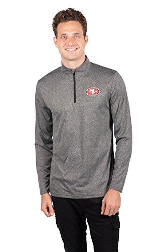 Icer Marken NFL Herren Quarter Zip Pullover Shirt Athletic Quick Dry Tee, Grau, Herren, JLM4688F, Heather Charcoal, Large