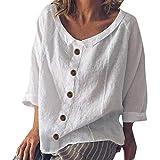 iYmitz 3/4-Arm Damen Streetwear Einfarbig Rundausschnitt Leinen Frauen Freizeit Bluse Sommer Freizeithemd(Z1-Weiß,EU-36/CN-S)