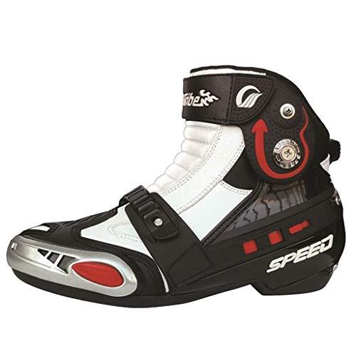 wthfwm Scarponcino da Moto Corto alla Caviglia per Scarpe da Uomo Stivali da Enduro Fuoristrada Stivali da Moto da Moto Stivali Sportivi da Corsa,White-41