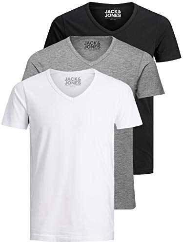 Jack and Jones Herren T-Shirt Basic V-Ausschnitt 3er Pack Einfarbig Slim Fit in Weiß Schwarz Blau Grau (Farb Mix 1, XL)