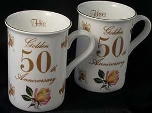 50th Golden Wedding anniversary gift Pair of Mugs