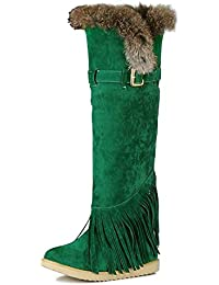 OCHENTA Yardas grandes Gaotong botas de flecos nieve tibia para mujer