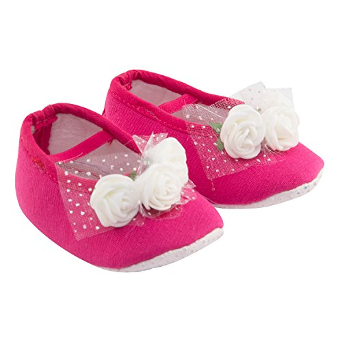 Daizy Baby Girls Hot Pink Booties With Three White Flowers - (3-6 months)