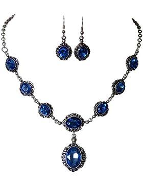 Elegantes Trachtenschmuck Dirndl Collier Set - bestehend aus Collier und Ohrhängern - Sapphire blau