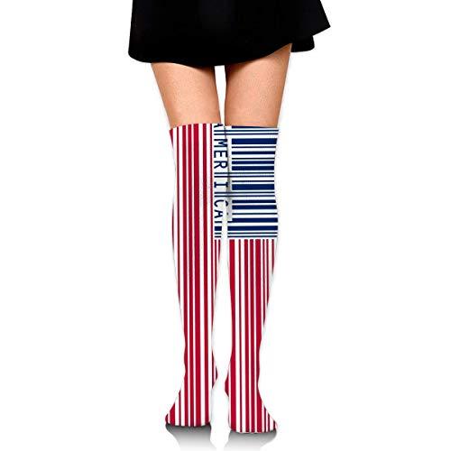 Bgejkos Klassische Overknee Strümpfe Barcode America Flag 60cm Strümpfe