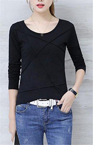BESTHOO Donne Sciolto Autunno T Shirt Camicetta Camicia A Rotondo Collo Bluse Maglie A Manica Lunga Slim Tops Moda Blusa Black