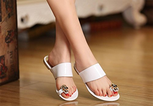 crâne plage d'été sandales et pantoufles personnalité de femmes casquettes sandales à bout et pantoufles White