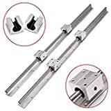 Questquo 2Pcs Sbr16 750Mm Linear Rail Shaft Rod with 4Pcs Sbr16Uu Bearing Block One Piece