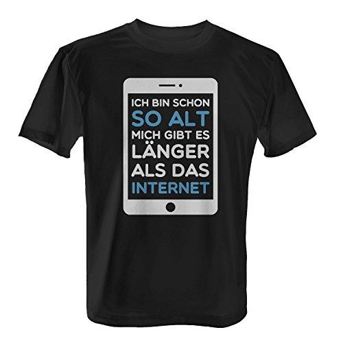 Ich bin schon so alt Mich gibt es länger als das Internet - Herren T-Shirt von Fashionalarm | Fun Shirt Spruch Spaß Web 2.0 IT PC Computer Smartphone Tablet Geburstag Geschenk Idee für Männer Schwarz