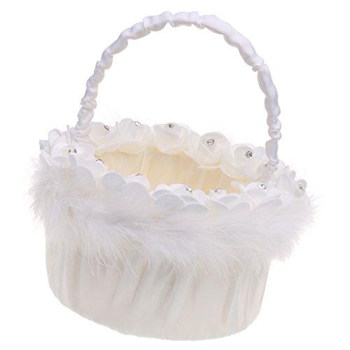 MagiDeal Weiße Satin Feder Kristall Rosen Blumenmädchen Korb Perlen Strass Dekor für Hochzeit