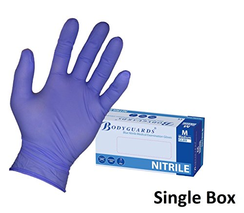 Price comparison product image box 100 Bodyguard 4 Blue Nitrile Powder Free Disposable Gloves [Large]